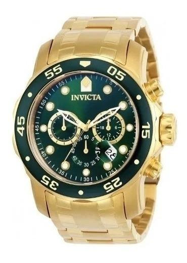 Relógio Invicta Pro Diver Plaque Ouro Fundo Verde 21925 0075