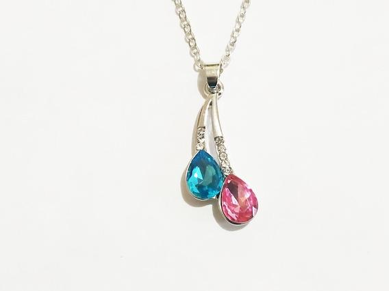 Collar Cristal Austriaco Gotas Baño Rodio Envío Gratis