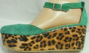 Nazaria Sandalia Plataforma 38 Gamuza Verde Leopardo-ana.mar