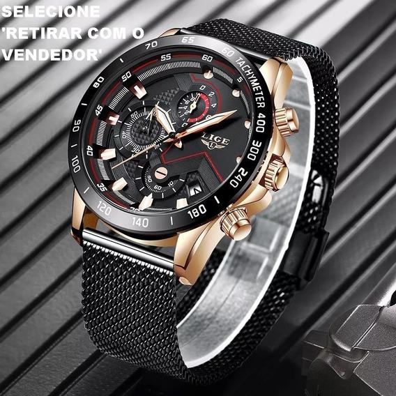 Relógios Masculinos Quartz Lige Original Promoção Frete Grat