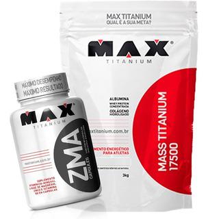 Combo Ganho De Massa Mass 17500 3kg + Zma 90cps Max Titanium
