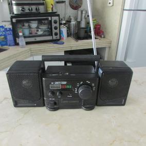 Radio Preto Mini Compo Silver Crown Com Relógio Digital