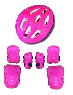Kit Acessórios De Proteção Rosa Para Patins Roller Skate