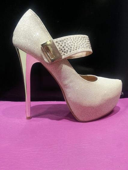 Zapato Dama Taco Aguja De 15cm Talle 39