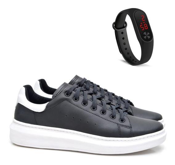 Tênis Sneaker Com Relógio Masculino Fork 5049-1ec Preto