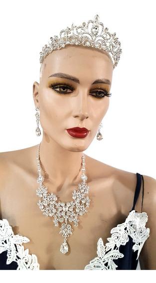 Set Collar Aretes Corona Para Novias Cristales Xv Anos.a
