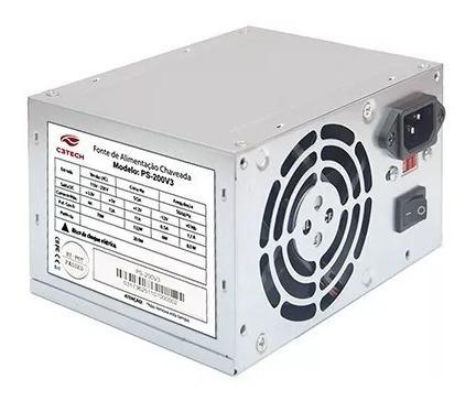 Fonte Atx 200w Reais C3tech Ps-200v3 C/ Chave, Bivolt