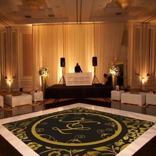 Pista De Dança Para Casamento Preto Com Dourado Ps12 - 3x3m
