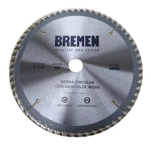 Imagen 1 de 4 de Hoja Sierra Circular 184mm 7 1/4 Bremen 60d Melamina 4693
