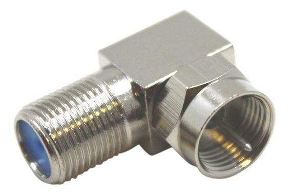 Adaptador 90º Cable Conector F Ficha Tv Led Lcd Pin Fino M/h