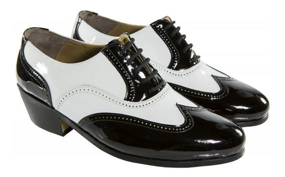 Sapato De Filme Masculino Social Luxo Preto E Branco Top