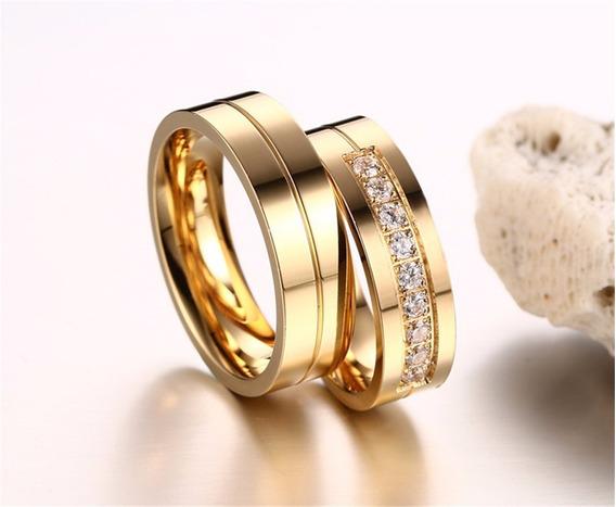 Alianças Casamento Noivado Banhadas A Ouro 18k Com Pedras