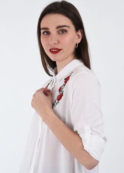 Camisa Bordada Con Rosas Manga Larga Y 3/4 Verano 2020