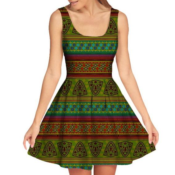 Vestido Doll Rodado Feminino África Tumblr Swag Estampa