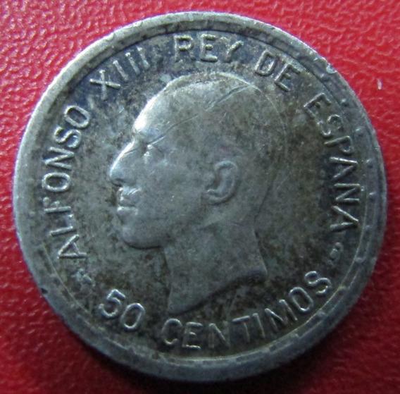 España Moneda De Plata 50 Centimos 1926 Au Rey Alfonso Xiii