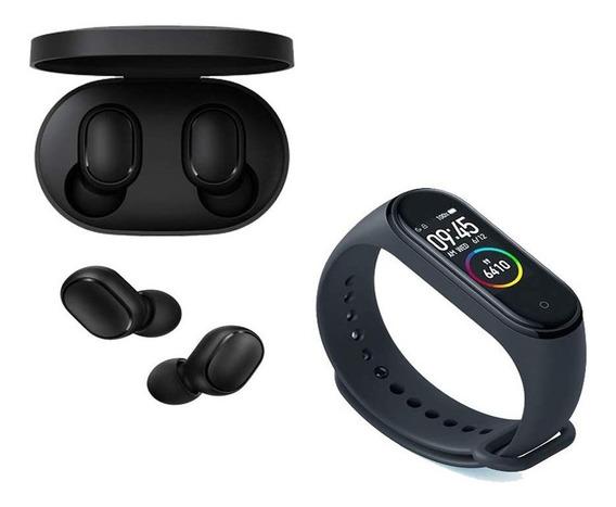 Kit Fones Bluetooth 5.0 Airdots A6s + Relógio Smartwatch M4