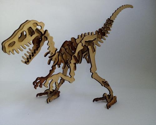 Rompecabezas 3d De Madera Dinosaurio  Velociraptor Coleccion