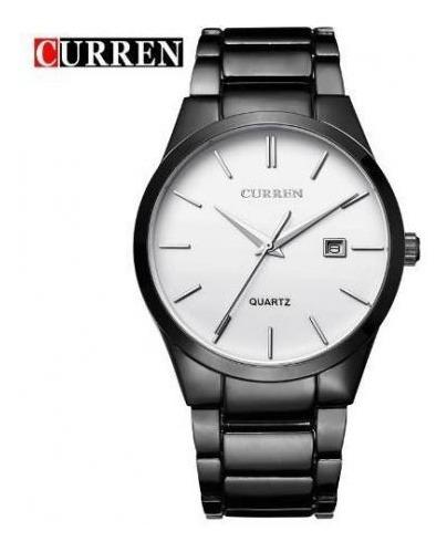 Relógio Masculino Importado Curren Pulseira Preta F. Branco