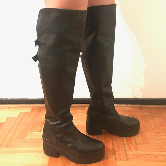 Botas De Cuero Para Dama Caña Alta | Taco 9 Cm | Impecables!