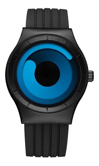 Relógio Luxo Quartzo Preto Azul Esporte Original Sinobi