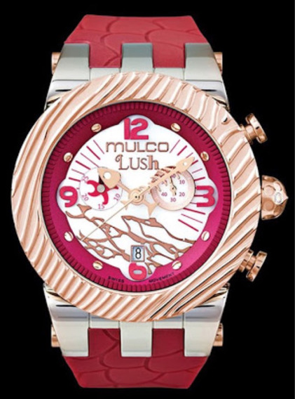 Reloj Mulco Lush Fish Chronograph White Mother Pearl Red