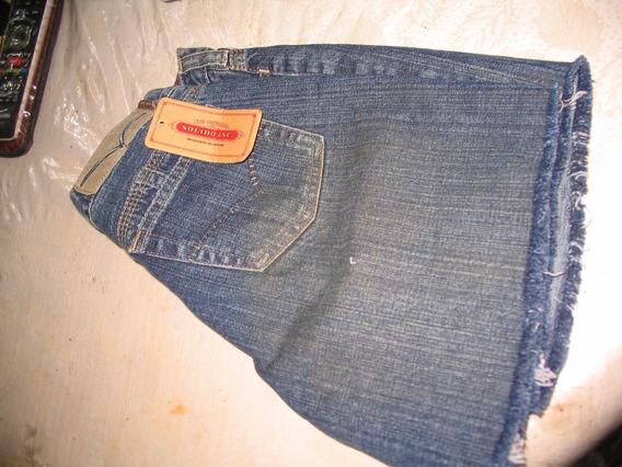 Short Jean Marca Solido 37 Modelo Desgastado Flecos Rigido