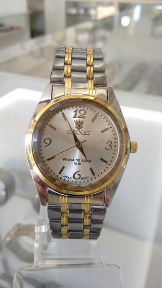 Relógio Orimet Masculino Misto Detalhes Dourado