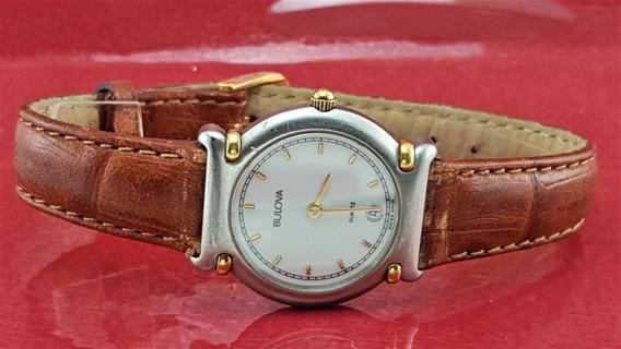 Relógio Bulova 657130 Com Data, Pulseira De Couro.