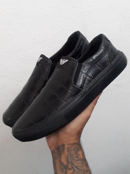 Tênis Sapatênis Slip On Armani Jeans 100% Croco Frete Grátis
