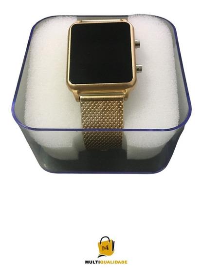 Relógio De Pulso Cor Dourado Modelo Retangular - Digital