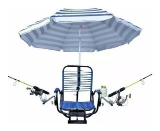 Cadeira Pra Barco De Pesca Confortável Porta Varas Isca Lata