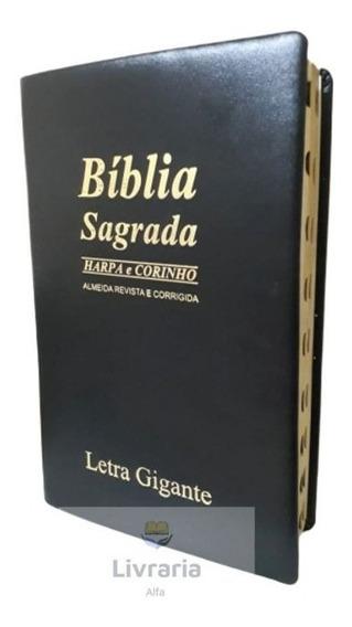 Biblia Sagrada Letra Gigante Harpa E Corinho - Luxo Preto