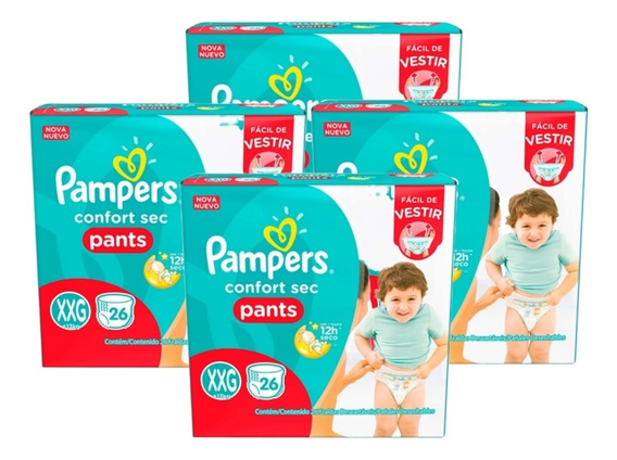 Kit 4 Fralda Infantil Pampers Pants C/26 Confort Sec Xxg