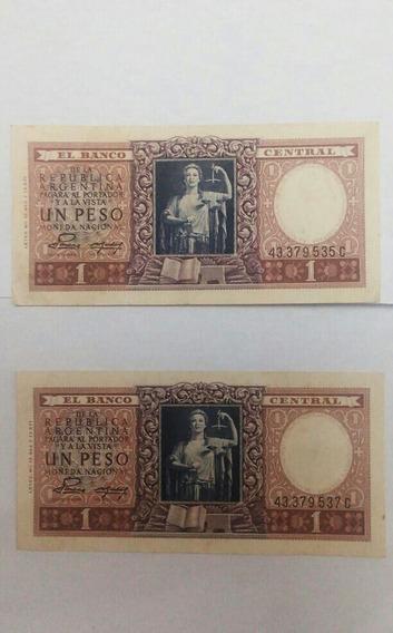 Dos Billetes Antiguos Serie C Un Peso Casi Correlativos