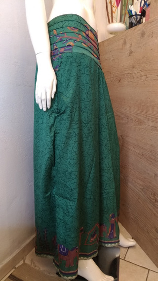 Calça Indiana Feminina Seda Pantalona Verde Dourado Roxo