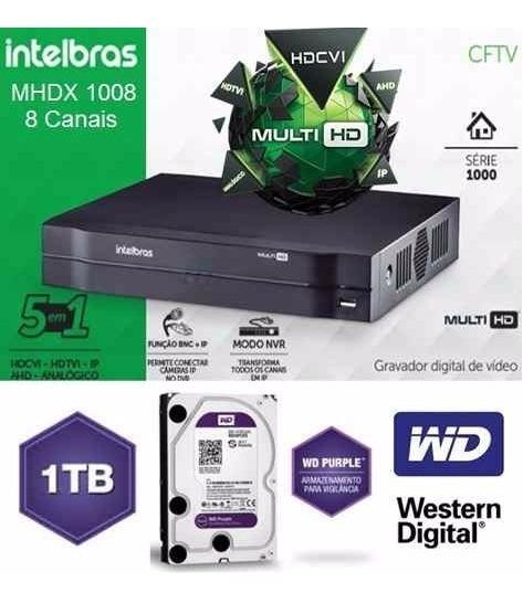 Dvr Intelbras 8 Canais Mhdx 1108 + Hd Purple Wester D. 1tb