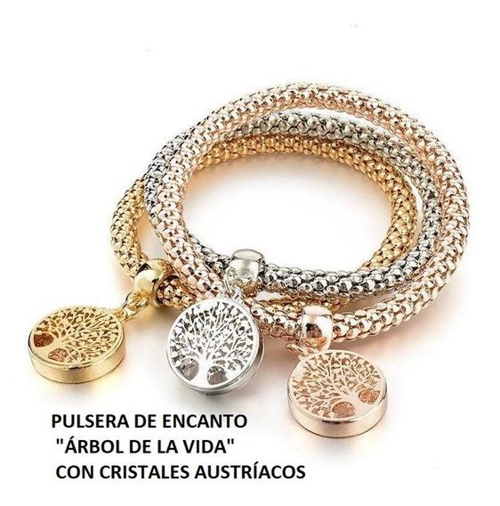 Set De 3 Pulsras Brazalet Color Plata Oro Rosado