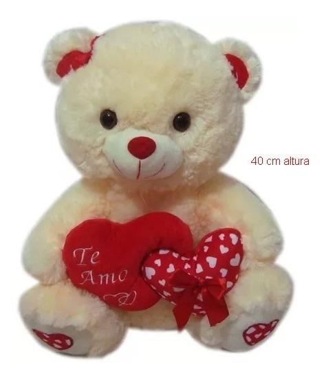 2 Urso Ursinho De Pelúcia Grande Com Coração Te Amo - 40cm