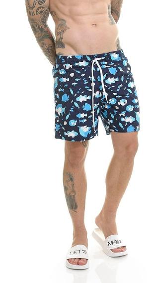 Bermuda Short Premium Praia Passeio Azul Escuro Offert