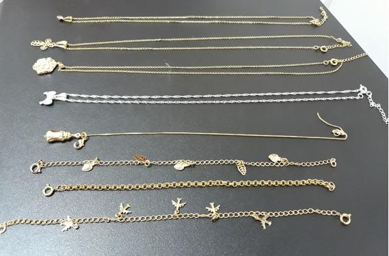 4 Pulseiras E 4 Correntes Banhadas A Ouro E Prata