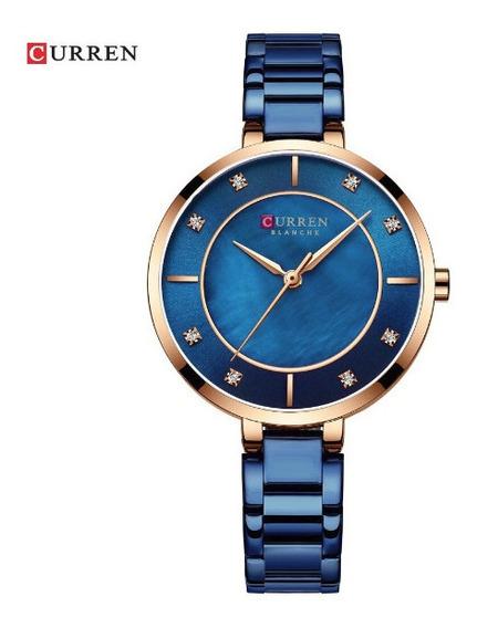Relógio Feminino Curren Luxo Resistente A Água - Rose/azul