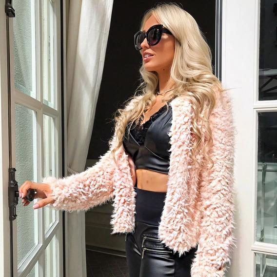 Roupas Femininas Blusa Casaco De Frio Pelinhos Rosa Instagra