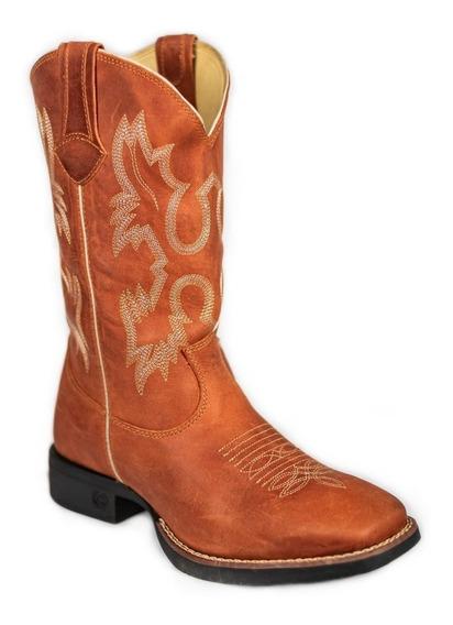 Bota Texana Classic Cano Country Montana Sela Rodeio 100% Couro - Oferta!