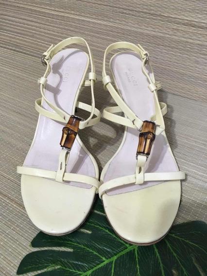 Sandália De Salto Alto Tiras Em Verniz Gucci Original Usada