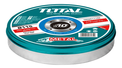 Imagen 1 de 3 de Set 10 Discos Corte Metal Total Para Amoladora 4.1/2'' 1.2mm