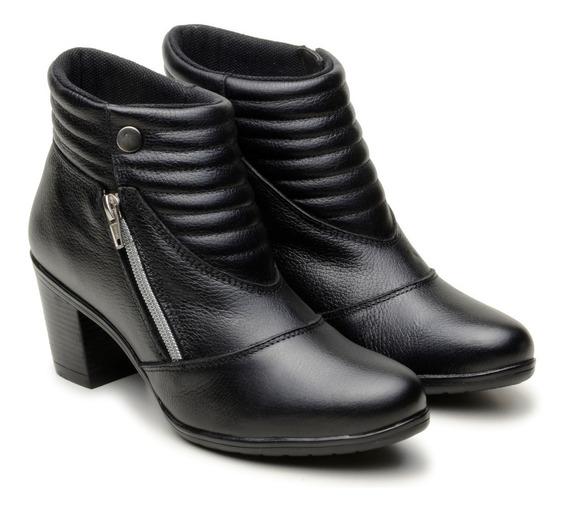 Bota Coturno Feminino 100% Couro Cano Médio Salto Lady Boots