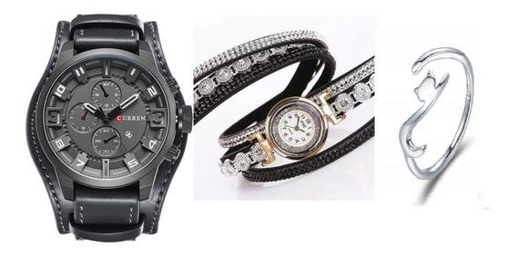 Kit 01 Relógio Masculino+01 Relógio Feminino+01 Anel Prata