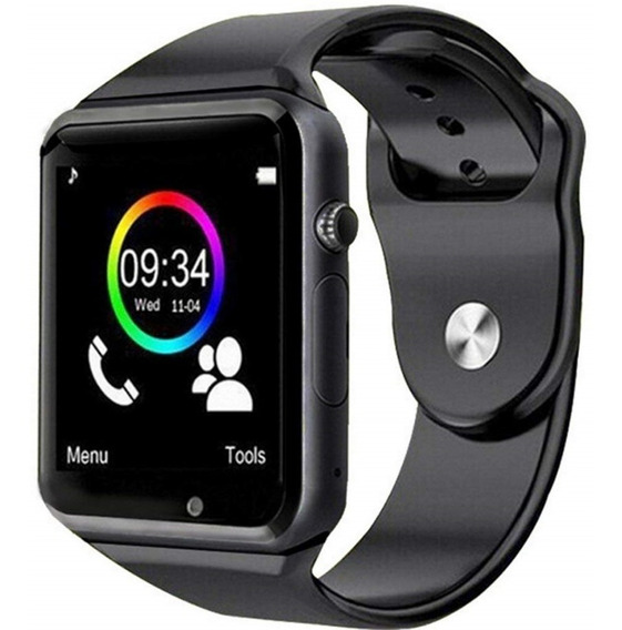 Relógios Celular Smartwatch Inteligente A1 Preto Bluetooth Aceita Chip Pedômetro Calculadora Realiza Ligações