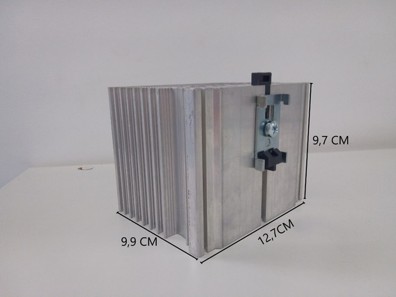 Dissipador Alumínio 12,7x9,7x9,99cm Conexão P/ Trilho Din