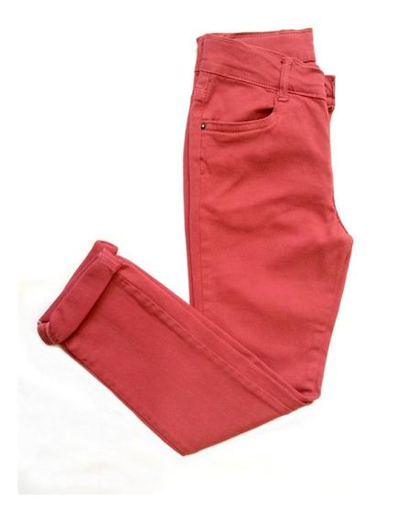 Calça Menina Skinny Em Sarja - Vermelho